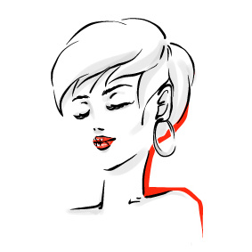 image of a sketch of lady with short stylish hair cut.